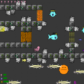 There are several types of enemies and objects the player can interact with. Each is unique and presents a different type of puzzle using the same mechanics. Also in this image, you can see that Elroy can eat fish to grow his tentacles back.